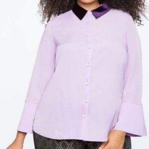 NWT Eloquii Pearl Button Blouse with Velvet Collar